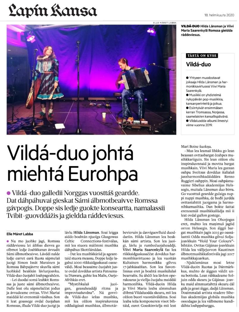 Lapin Kansa (Finland), 18.2.2020