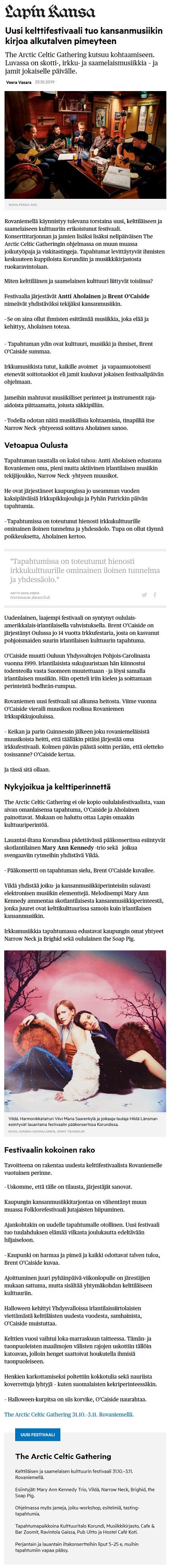 Lapin Kansa (Finland), 25.10.2019