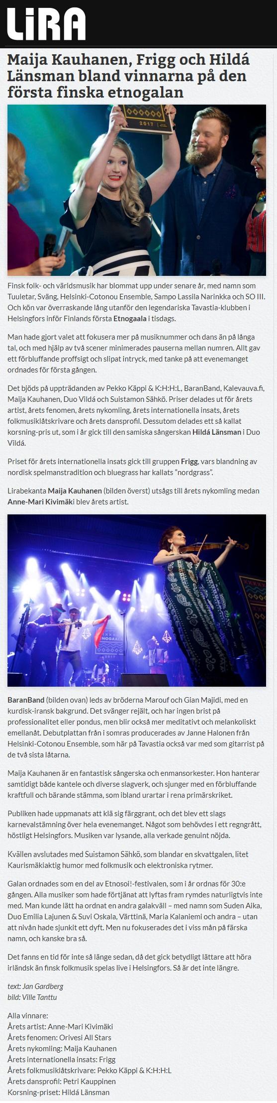 Lira Musikmagasin (Sweden), 10.11.2017