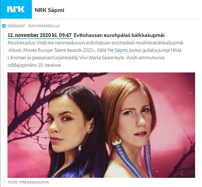 NRK Sápmi, Ođđasat, (Norway), 12.11.2020