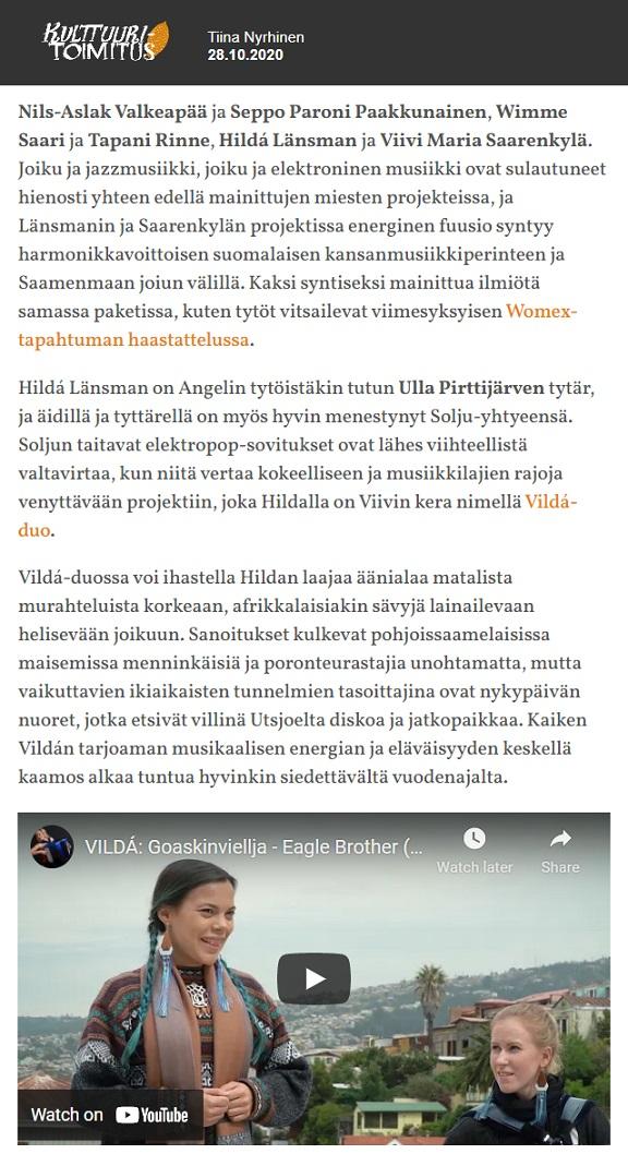 Kulttuuritoimitus, Parasta juuri nyt (Suomi), 28.10.2020