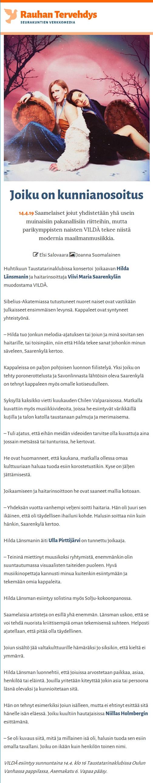 Rauhan Tervehdys (Finland), 14.4.2019