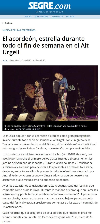 Segre (Spain), 28.7.2019