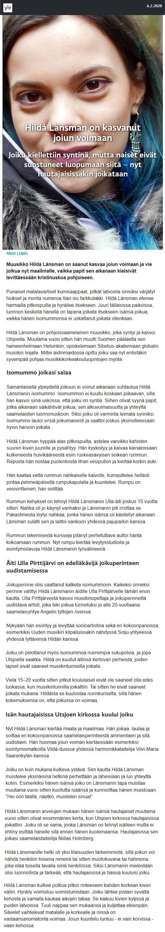 Yle, Dokumentit (Finland), 6.2.2020