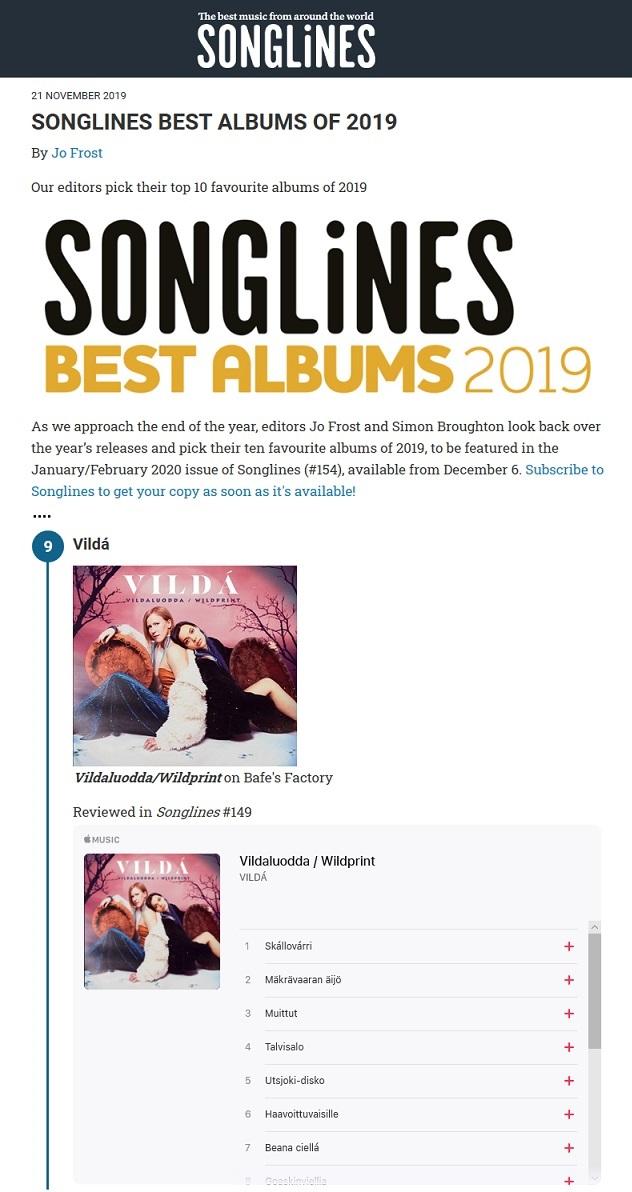 Songlines, Best Albums of 2019 (UK), 21.11.2019