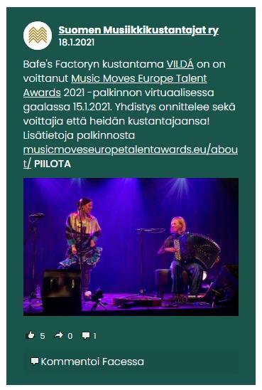 Suomen Musiikkikustantajat ry (Finland), 18.1.2021