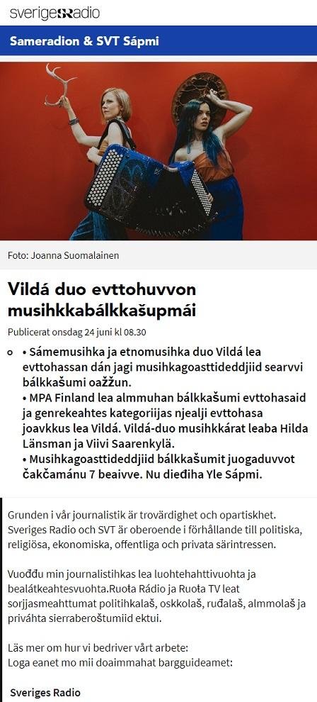 Sveriges Radio, Sameradion (Sverige), 24.6.2020