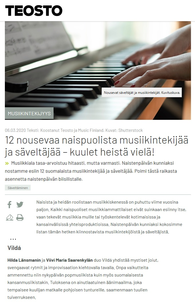 Teostory (Finland), 6.3.2020