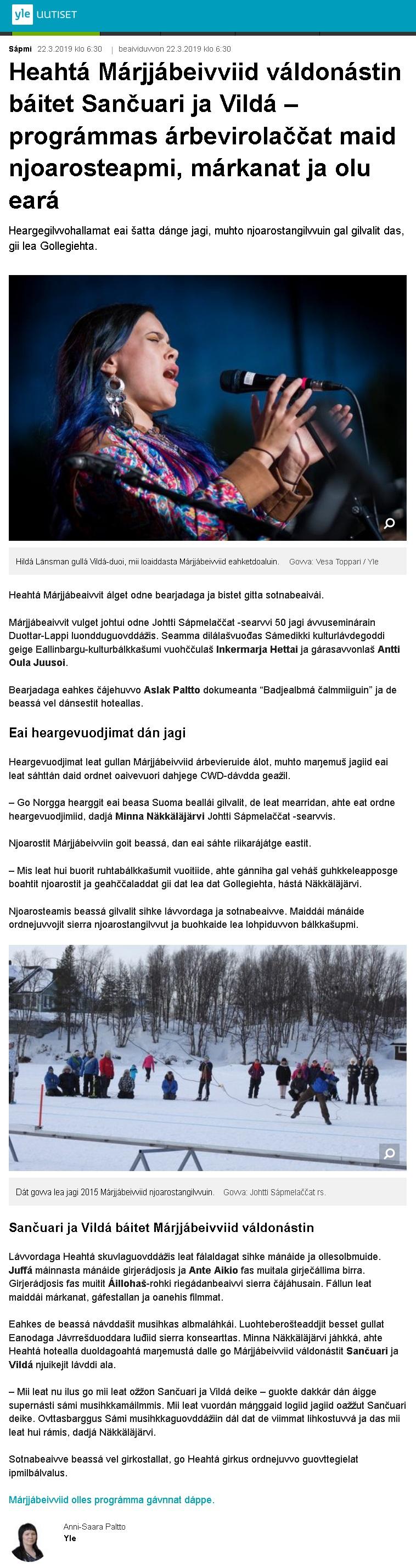 Yle Sápmi (Finland), 22.3.2019