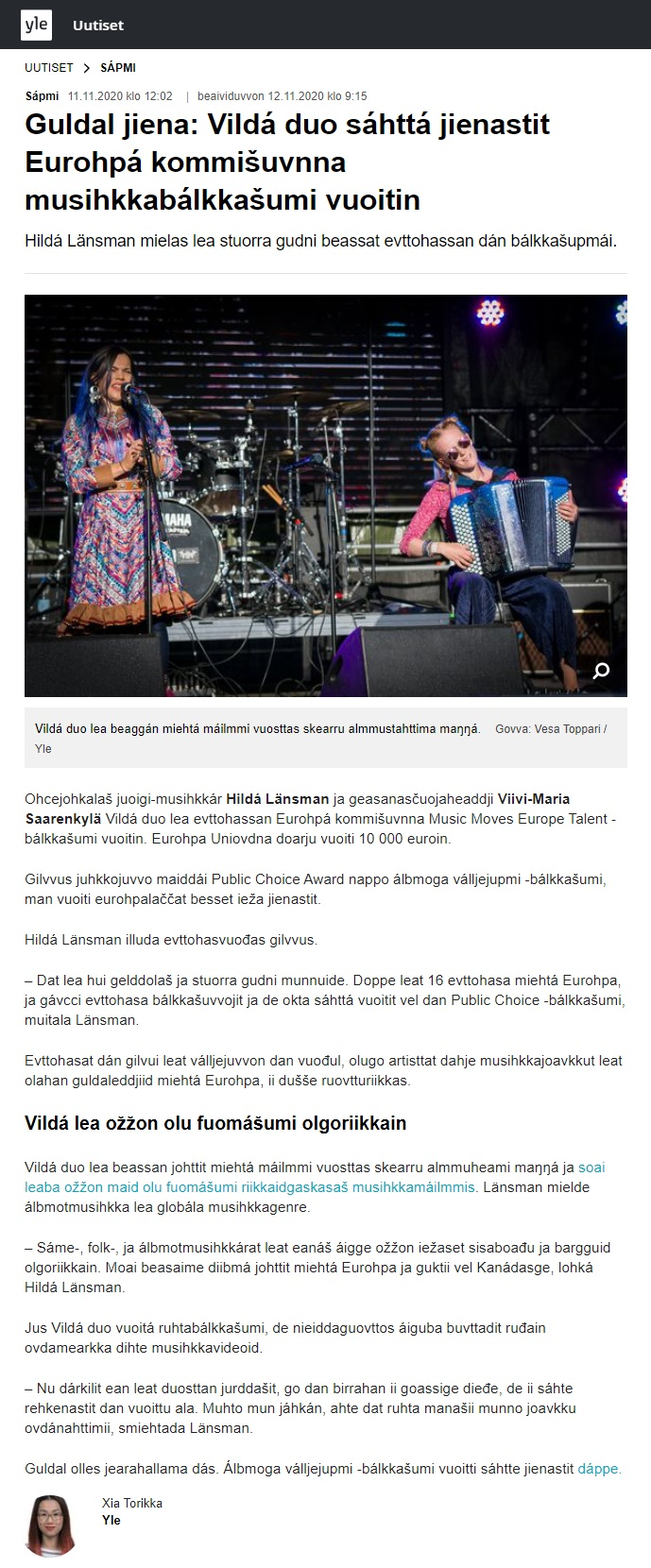 Yle Sápmi (Finland), 11.11.2020