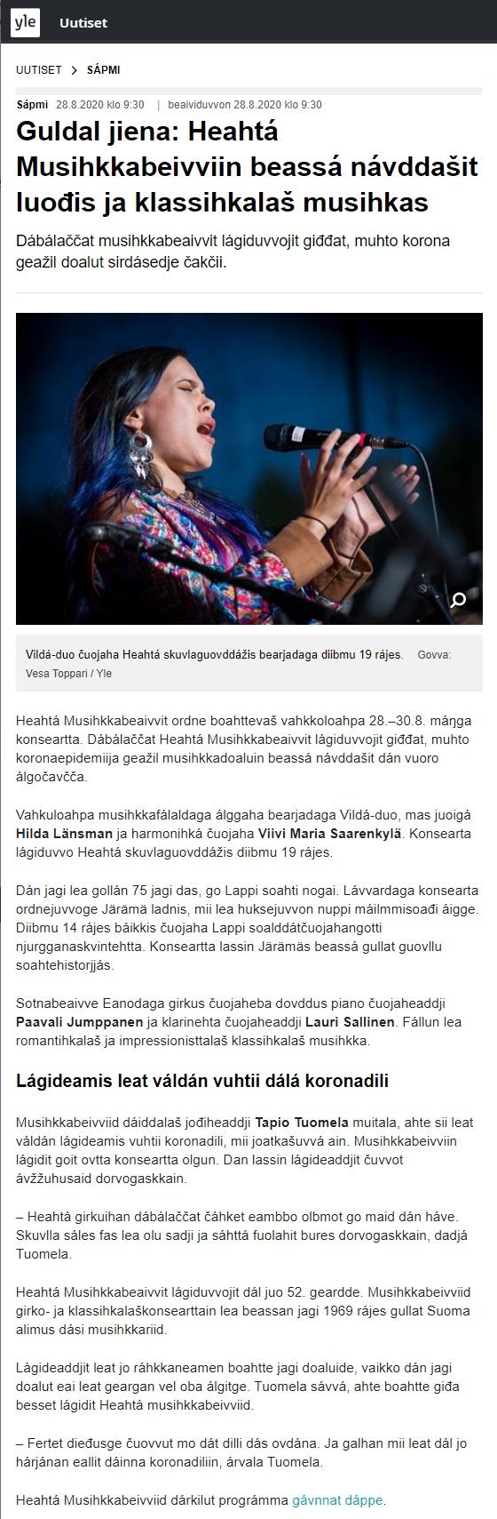 Yle Sápmi (Finland), 28.8.2020