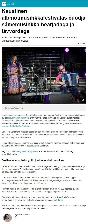 Yle Sápmi (Finland), 12.7.2019
