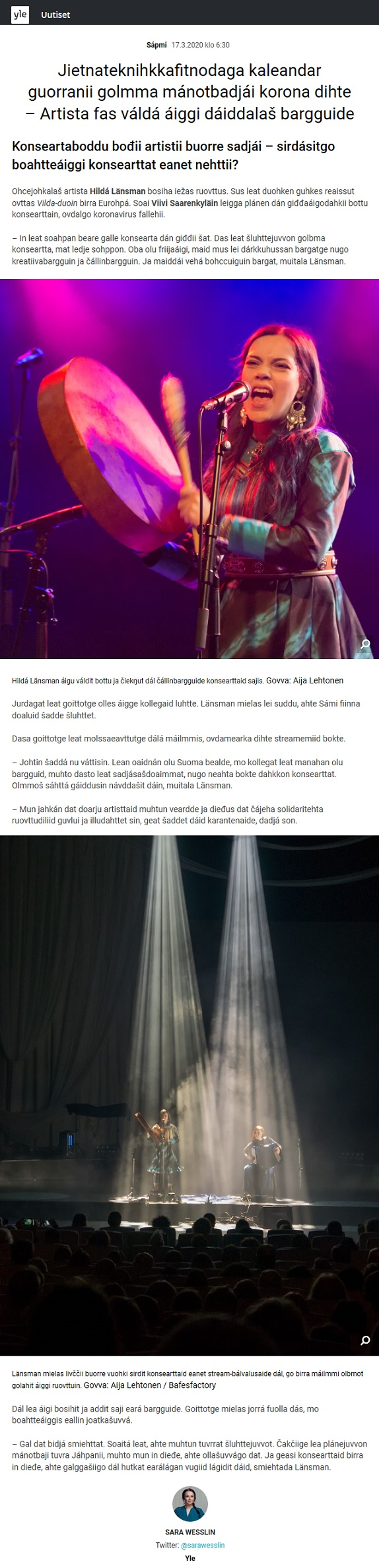 Yle, Sápmi (Finland), 17.3.2020