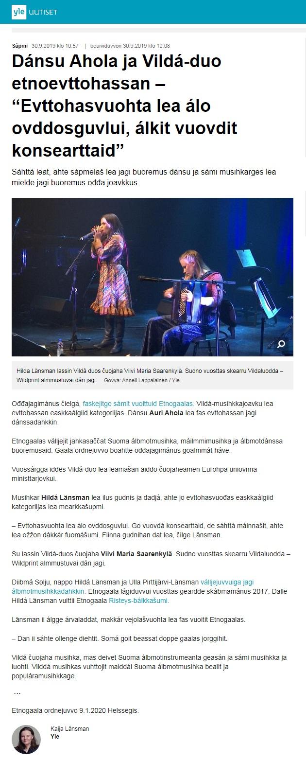 Yle Sápmi (Finland), 30.9.2019