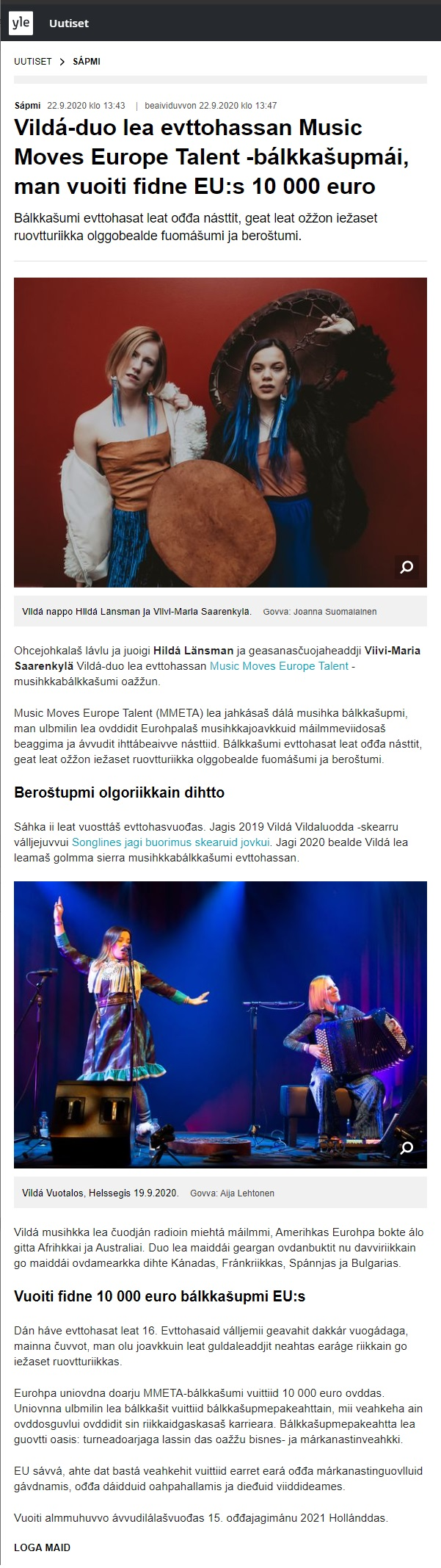 Yle Sápmi (Finland), 22.9.2020